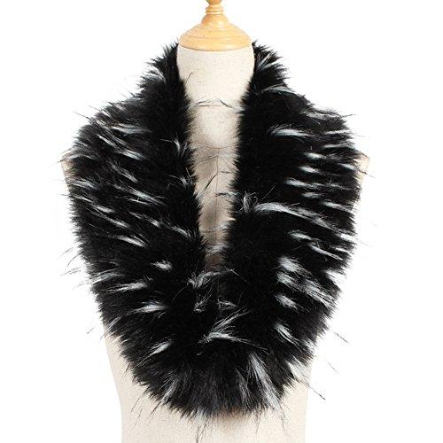 Yetagoo Faux Fur Collar Women's Neck Warmer Scarf Wrap Gatsby 1920s Shawl Accessories - Fur Trim Scarf