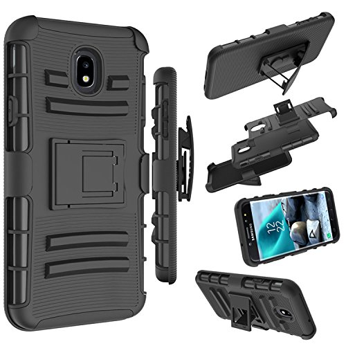 Galaxy J7 2018/J7 Aero/J7 Top/J7 Eon/J7 Star/J7 Crown/J7 Aura Case, Zoeirc [Heavy Duty] Armor Shock Proof Dual Layer Phone Case Cover with Kickstand & Belt Clip Holster for Samsung J7 Refine (Black)