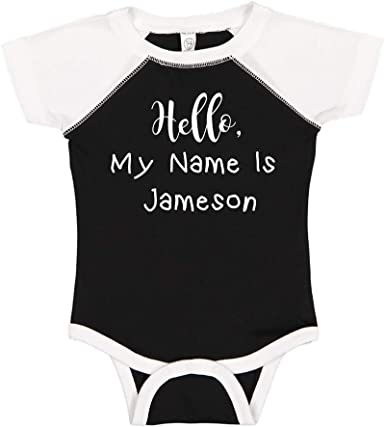 Mashed Clothing Hello My Name is Jameson Personalized Name Baby Romper
