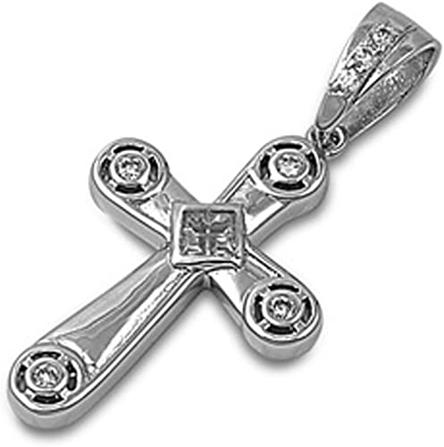 Clear Cz Cross Charm .925 Sterling Silver Pendant Necklace