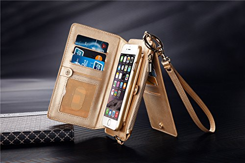 iPhone 6s Case, iPhone 6 Case, DRUnKQUEEn Premium Leather Zipper Wallet Detachable Removable Case Purse Clutch with Belt Clip & Credit Card ID Holder Foldable Kickstand Cover for iPhone6s / iPhone6