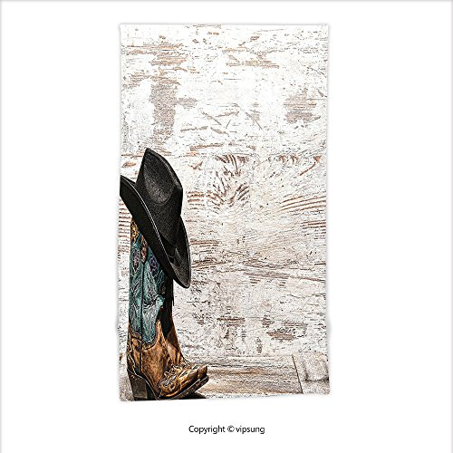 Vipsung Microfiber Ultra Soft Hand Towel-Western Decor Traditional Rodeo Cowboy Hat And Cowgirl Boots In A Retro Grunge Background Art Photo Brown Coconut Black For Hotel Spa Beach Pool Bath