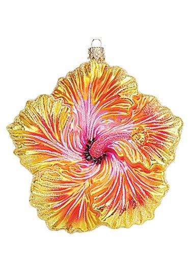 Yellow Hibiscus Tropical Flower Polish Blown Glass Christmas Ornament Decoration