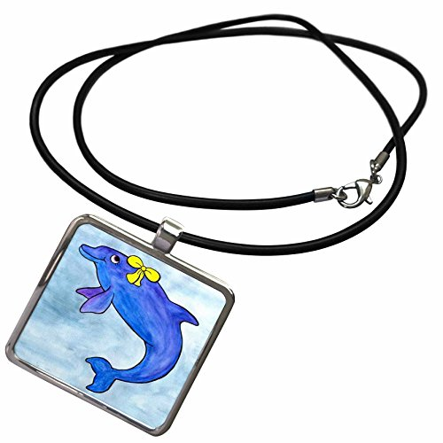 3dRose Whale Tail Gang - Daisy Bottlenosed Dolphin - Necklace with Rectangle Pendant (ncl_1099_1)
