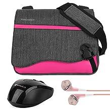 "Vangoddy 10 Inch Nylon Anti-Theft Tablet Crossbody Shoulder Bag Satchel (Magenta) for Google Pixel Pixel C 10.2"" / Huawei MediaPad M3 Light 10.1"" / iRulu Walknbook 2 10.1"" + Earphone + Wireless Mouse"