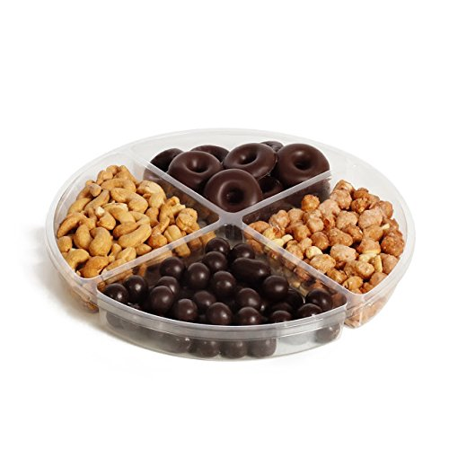 The Chocolate Bar Holiday Kosher Nuts & Chocolate Gift Platter 4-sectional Gift Basket,