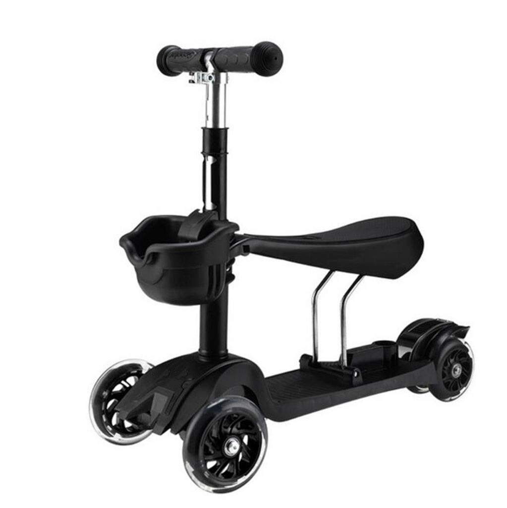 Children's scooter kick scooter children's kids 4 wheel scooter, 3 in 1 super wide wheel kids scooter with detachable seat, adjustable height handle, scooter children boys and girls 1 to 6 years old