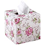 Pink Floral Pattern Tissue Holders PU Leather Tissue Box Cover Facial Tissue Refill Holder / Decorative