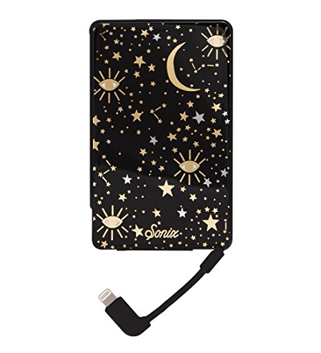 Sonix Cosmic (black, gold, silver, stars) External Battery Pack for iPhone (Portable Charger with built in MFi Lighting Cable) Pick Me Up Power Bank for Apple iPhone 5, 6, 6s, 7, 8, X, XS, XR, XS Max