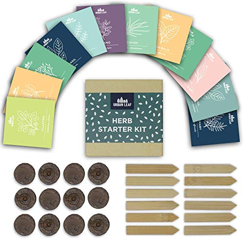Urban Leaf - Indoor Herb Garden Starter Kit - Soil Starter Discs, 12 Compact Herb Seed Varieties, Bamboo Labels and Detailed Instructions - DIY Kitchen Grow Kit for Growing Herb Seeds Indoors ()