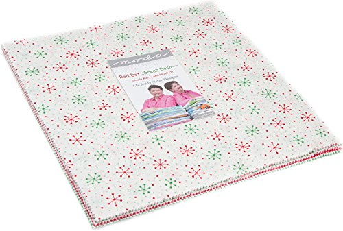 Me and My Sister Designs Red Dot Green Dash Layer Cake 42 10-inch Squares Moda Fabrics - Dot Red Product Design