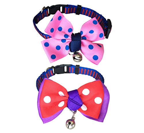 FUNPET 2 Pack Nylon Adjustable Cat Collar Breakaway with Fashion Dots Bow Tie and Bell 8-11 Inch Purple and Pink