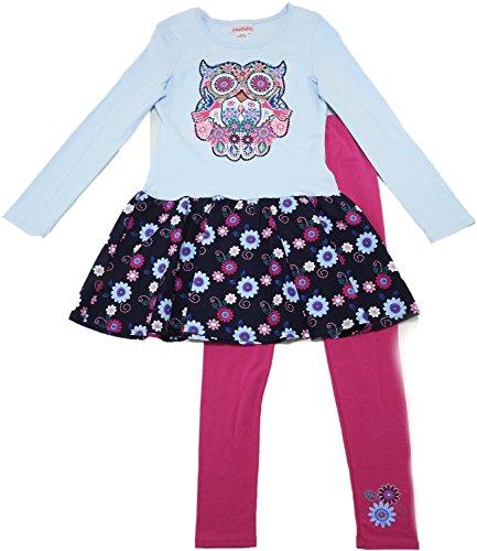 - Flapdoodles Girls Size 10-12 LS Owl Skirt Top & Legging 2-Piece Set, Omphalodes