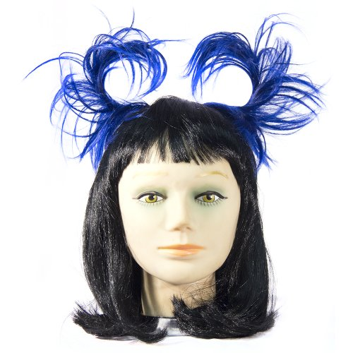 HMS Anime Hair Piece Easy To Shape Attaches with Haircomb Made Of Wig Fiber, Blue/Black, One Size