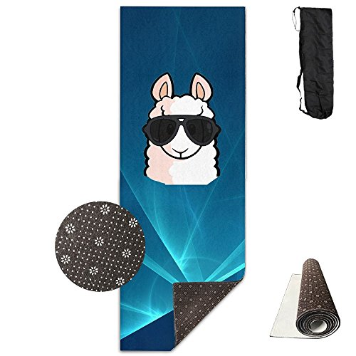 No Prob-Llama Premium Thick Exercise Yoga Mat With Comfort Foam Non Slip Yoga Mat - With Carrying - Printed Minimum No Sunglasses