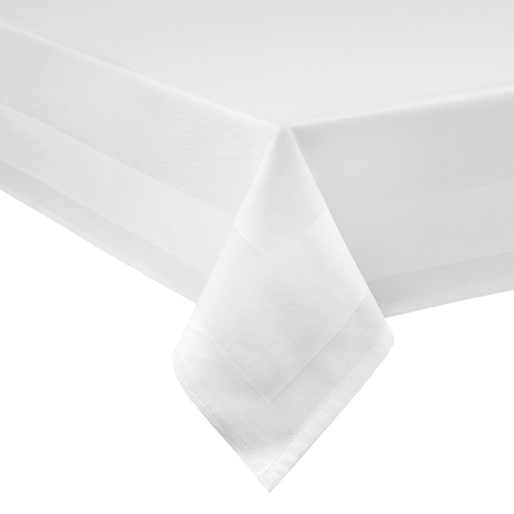Damast Tablecloth 130 x 220 cm Washable at 95 °C White DHT-Baumwolle UKASNHKTN2905