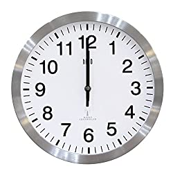 hito Quiet Atomic Wall Clock Self-Setting 12 inch Aluminum Frame, Decorative for Kitchen, Living Room, Bedroom, Office, Classroom (Silver)