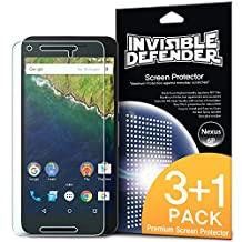 Nexus 6P Screen Protector - Invisible Defender [3 Front+1 Free/MAX HD CLARITY] Lifetime Warranty Perfect Touch Precision High Definition (HD) Clarity Film for Huawei Nexus 6P