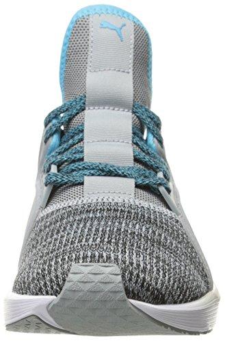 Puma Womens Fierce Lace Knit Wns Cross-Trainer Shoe Quarry-puma White-blue Atoll