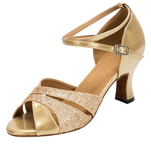 7cm Sandals Ballroom Party MGM Latin Women's Peep Shoes Joymod Gold Evening Tango Toe Wedding Heel Modern Rumba Dance xwY6aOqw