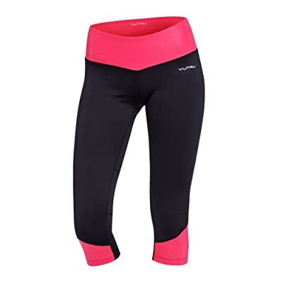 Vutru Women's Capri Leggings Running Pants - Color Block Gym Tights Fitness Workout Clothes