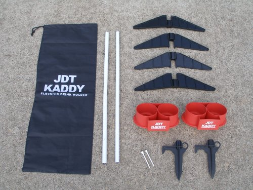 JDT Kaddy Elevated Drink Holders (Set of Two) - Comes with both ground stakes and hard surface stands. Great for outdoor games. by JDT HARRIS INC (Image #2)