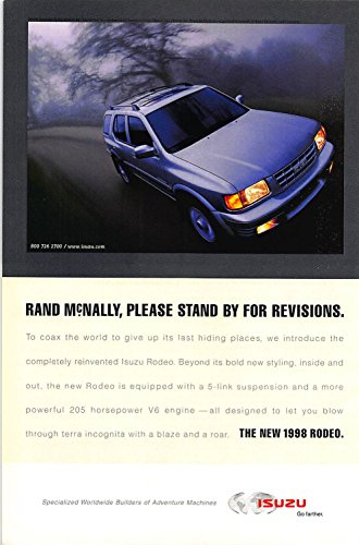 Print Ad 1998 Isuzu Rand McNally please stand by for revisions the new 1998 Rodeo - Used Isuzu Rodeos