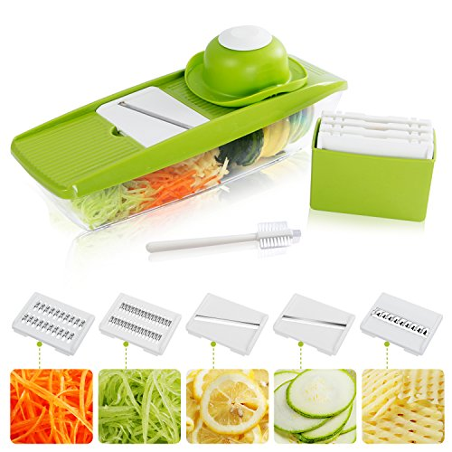 Lifewit 5 Blades Mandoline Slicer Straight Slicer,Vegetable Cutter, Fruit Blade, Potato Wavy Blade