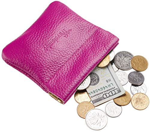 Travelambo Leather Squeeze Coin Purse Pouch Change Holder For Men & Women (Pebble Purple)