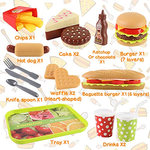 LOVESTOWN Kids Toys Burger, Kids Play Food Set Toddlers Pretend Toy Food Fake Food Toy Food for Kids Birthday Gift