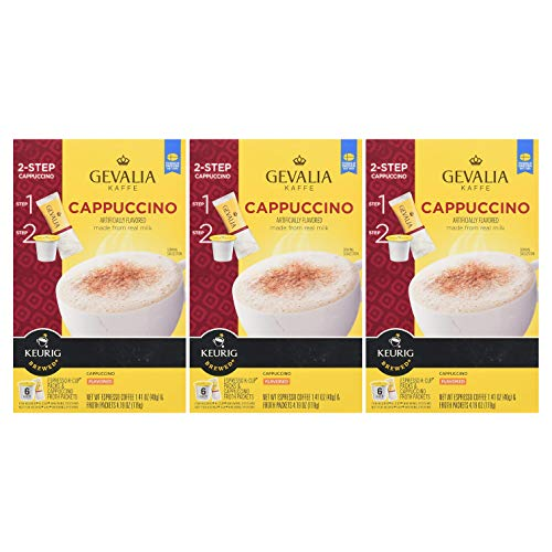 Gevalia K-Cup Pods with Froth Packet, Cappuccino, 6 CT (18 Count,Pack - 3)