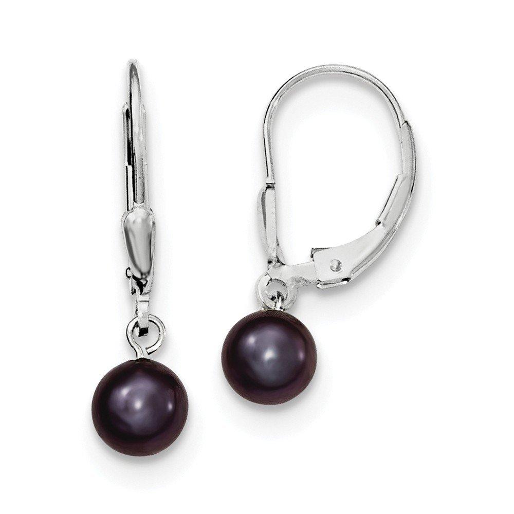Sterling Silver 6-7mm Black FW Cultured Pearl Leverback Earrings