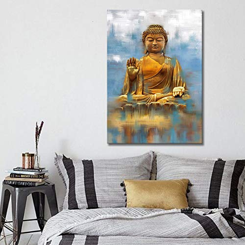- Artland Buddha Canvas Wall Art, Large Golden Buddha Statue Canvas Prints 1-Piece 20X28inches,Blue Artwork for Living Room Yoga Room,Home Decoration