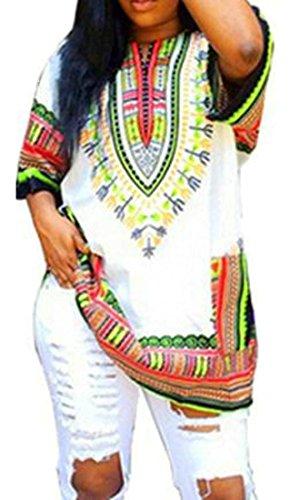 Cromoncent Femmes Manches Courtes Dashiki Afrique Imprimer Haut Robe D'été Lâche Blanc