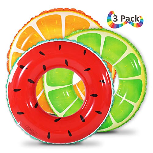 Fruit Pool Float, Watermelon Orange Lemon Swim Tube Ring, Inflatable Swim Pool Party Inner Tube for Kids, 3 Style Summer Pool Toy for Fun ()