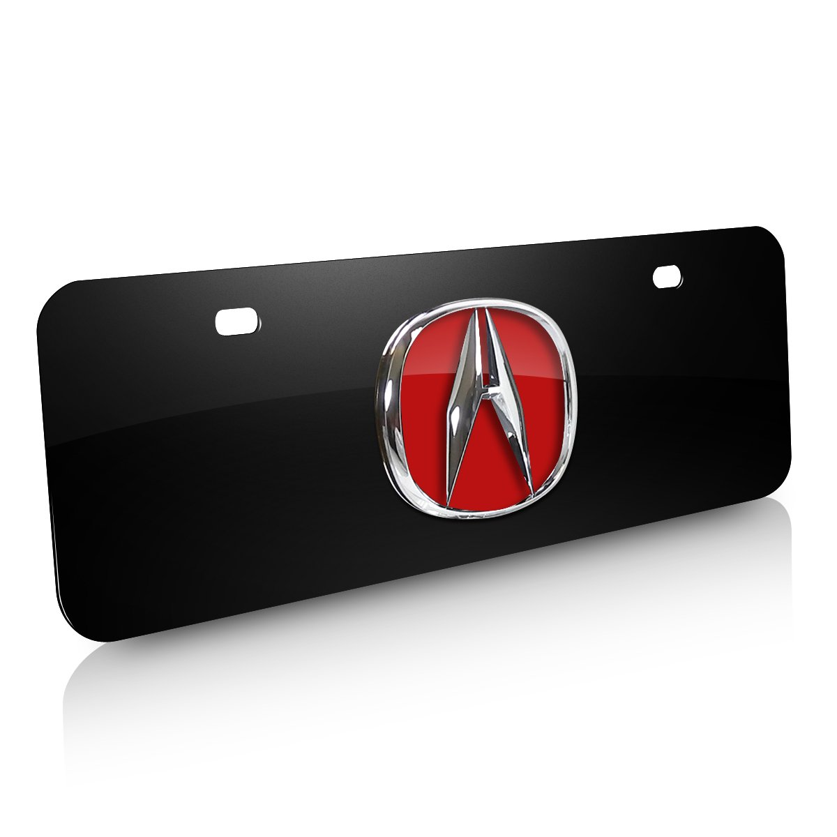 INC Au-Tomotive Gold Acura Red 3D Logo Half-size Black Metal License Plate