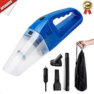 Car Vacuum Cleaner DC 12V Wet Dry Auto Portable Handheld Auto Vacuum Cleaner for Car 4000Pa Suction 120W Car Hoover with HEAP Filter & 5 Meters/16.4 FT Power Cord(1 Yr Warranty) Black (Blue)