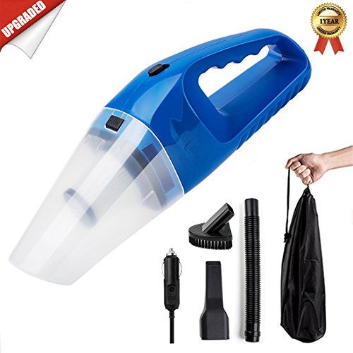 Eco Friendly Vacuum - Car Vacuum Cleaner DC 12V Wet Dry Auto Dustbuster Portable Handheld Auto Vacuum Cleaner for Car 4000Pa Suction 120W Car Hoover with HEAP Filter & 5 Meters/16.4 FT Power Cord(1 Yr Warranty) Blue