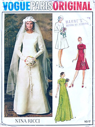 Vogue Paris Original 1077 Misses Bridal Gown and Bride's Maid Dress Vintage Sewing Pattern Size 8 Bust 31.5