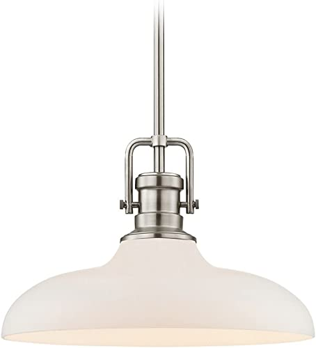 Industrial Pendant Light Satin Nickel Finish 14-Inch Wide