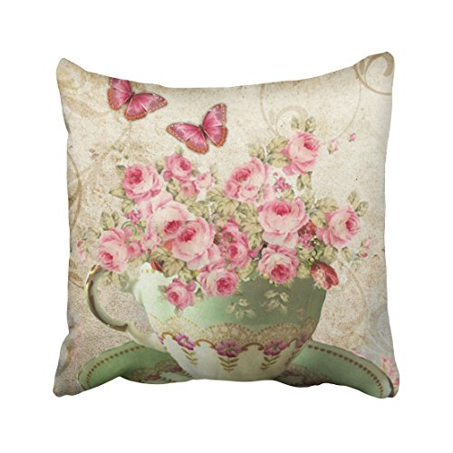 (Capsceoll Tea Cup Flowers Decorative Throw Pillow Case 16X16Inch,Home Decoration Pillowcase Zippered Pillow Covers Cushion Cover with Words for Book Lover Worm Sofa)