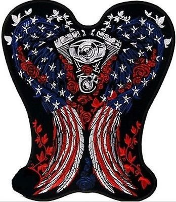 PATRIOTIC ANGEL WINGS Motorcycle V Twin MC Club LARGE BIKER Back PATCH LRG-0441