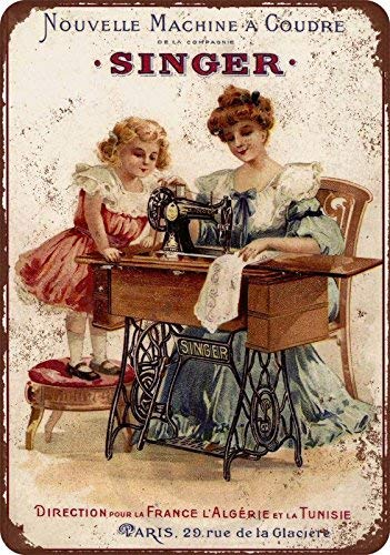 HarrodxBOX 1889 French Singer Sewing Machines Vintage Reproduction Novelty Aluminum Metal Tin Sign Post Wall Decoration for Men 8 x 12