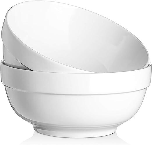 Dowan 8 Large Serving Bowls 2 Quart Big Salad Bowl Porcelain White Bowl For Kitchen Soup Salad Pho Pasta Ramen Popcorn Ceramic Mixing Bowl Microwave Dishwasher Safe Set