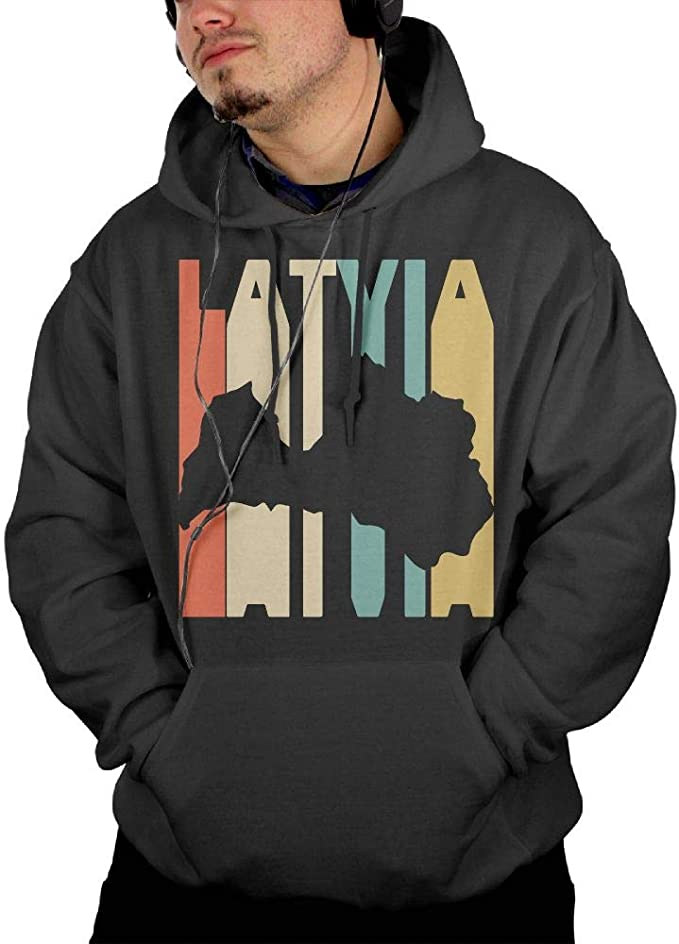 Winter Cotton Hoodie with Pocket for Men Ou50IL@WY Mens Latvia Flag Hooded Fleece