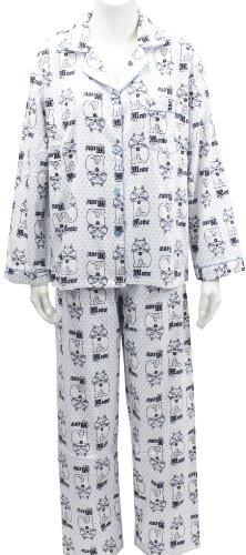 Leisureland Women's Cotton Flannel Pajama Set Kitty Meow Cats