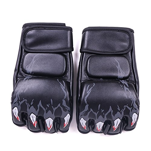 Boxing Gloves, Sandbag Gloves, soled Half Finger Boxing Gloves Sanda Fighting Sandbag Gloves MMA UFC (Black with tiger fingers)
