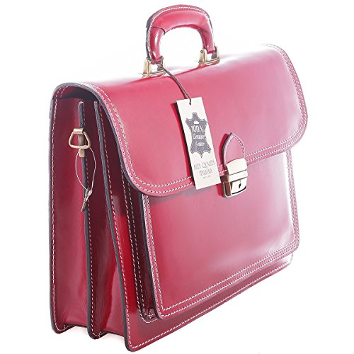 genuine Red Borse Chicca briefcase Man's business bag leather x1w0X6q