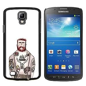 """Be-Star Único Patrón Plástico Duro Fundas Cover Cubre Hard Case Cover Para Samsung i9295 Galaxy S4 Active / i537 (NOT S4) ( Tatuaje capitán de tinta blanca rústica Hombre"""" )"""