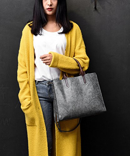 Hombro Bolso de Bolso de Bolsos Mujer Carteras Shoppers YAANCUN Bandolera Cuero Oscuro Gris Totes Suave Bolsa con asa Bolso aIzIwq8xY